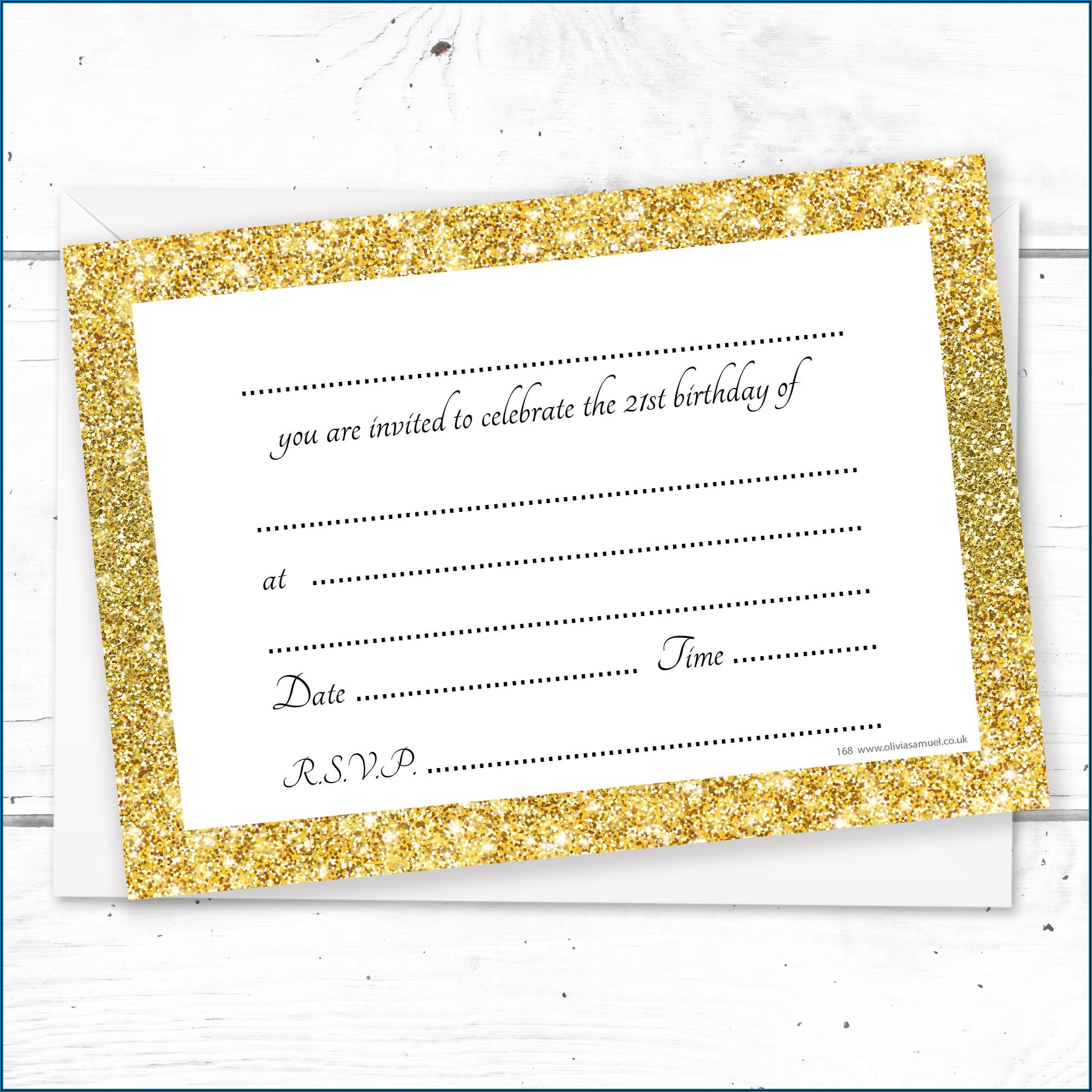 Black And Gold 21st Birthday Invitations
