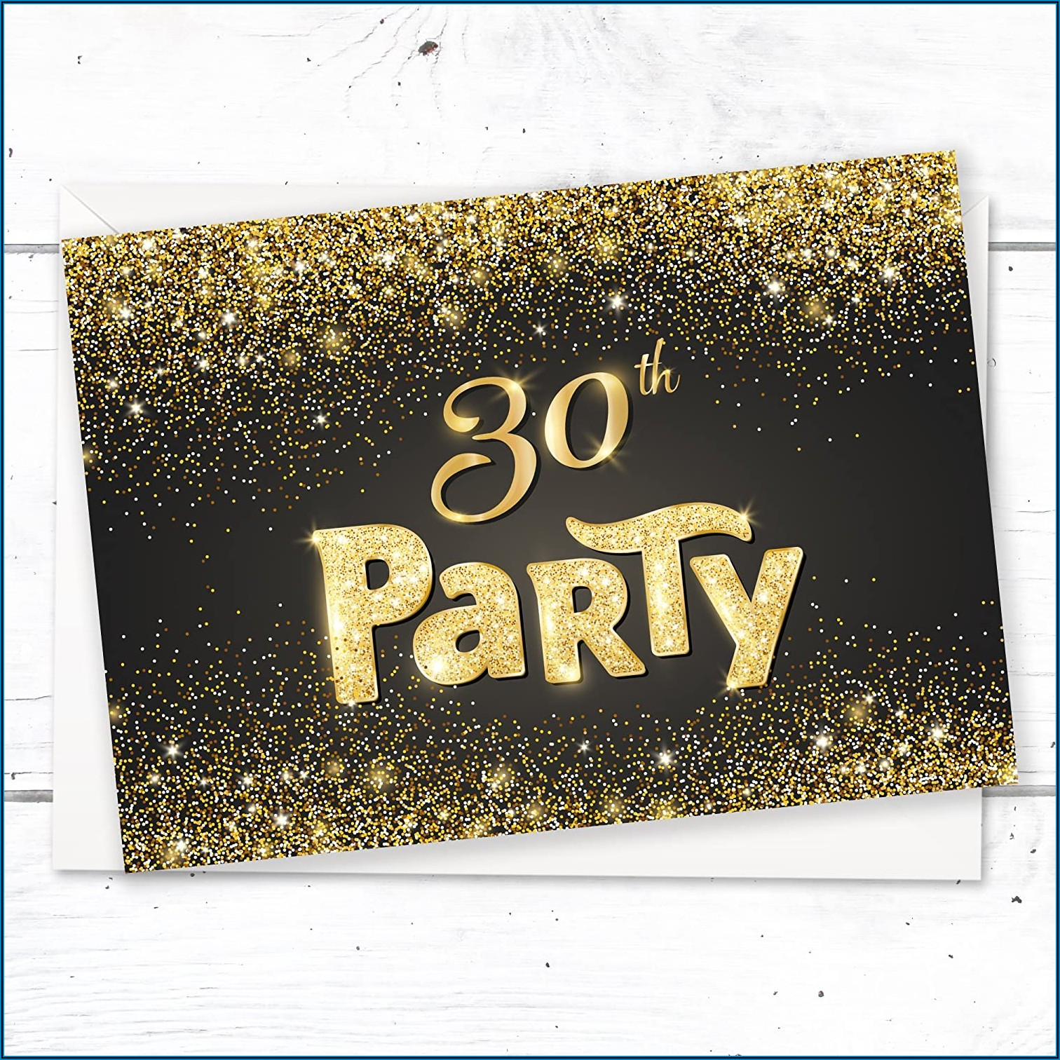 Black And Gold 30th Birthday Invitations