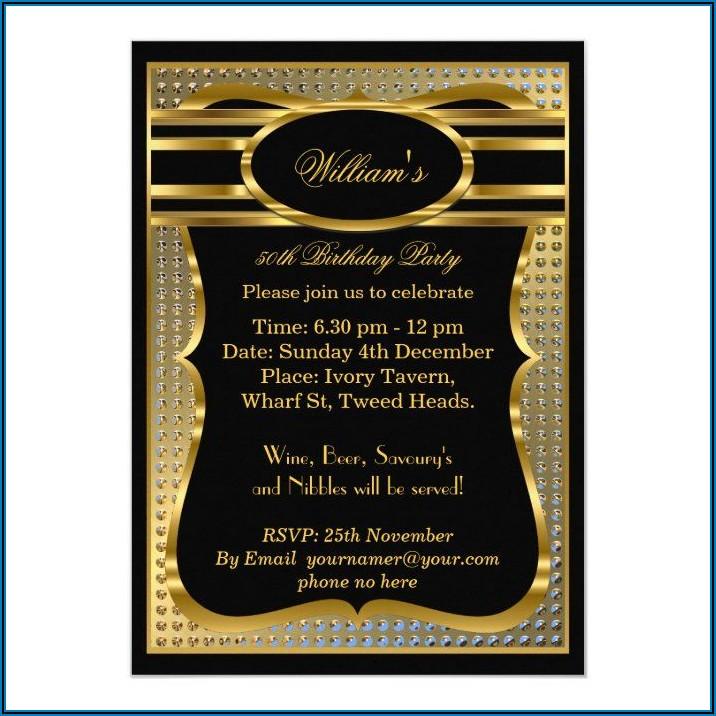 Black And Gold 40th Birthday Invitations