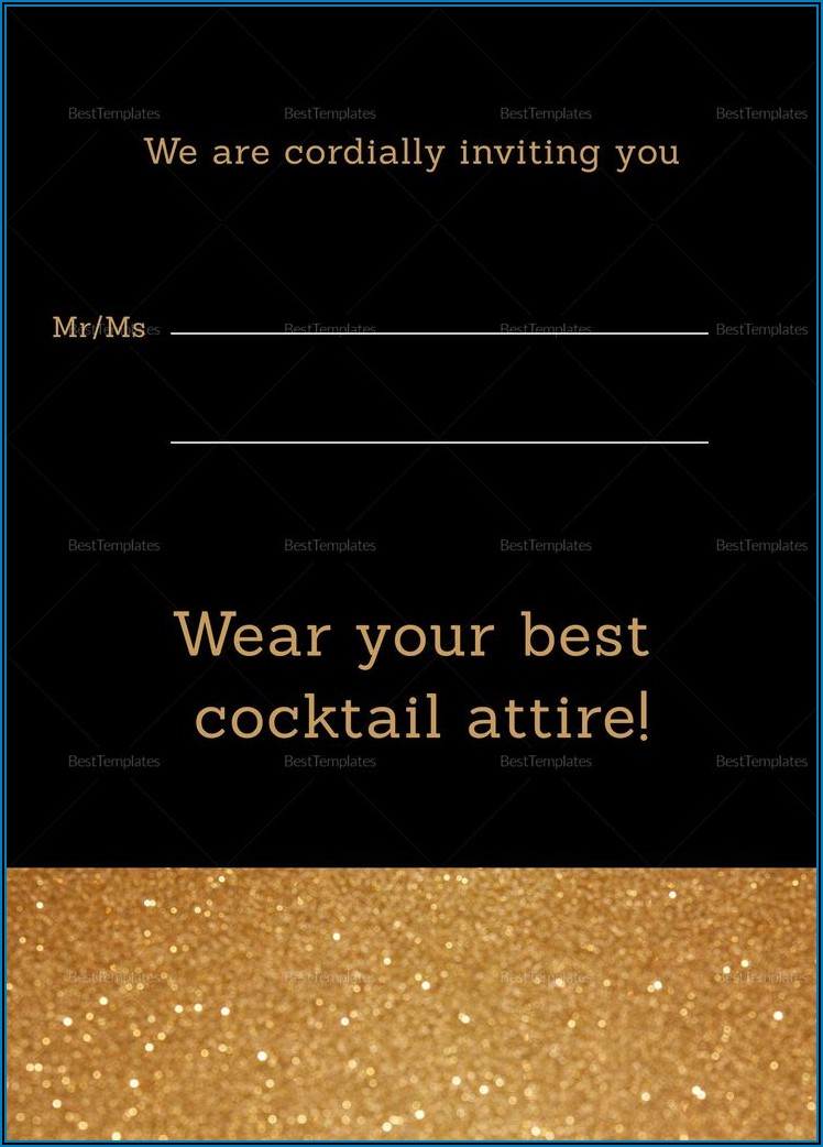 Black And Gold 50th Birthday Invitation Templates