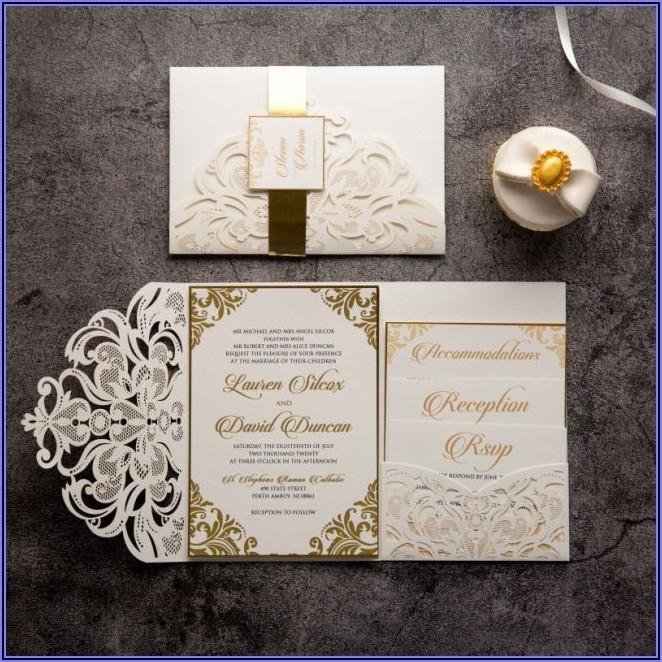 Black And Gold Laser Cut Wedding Invitations