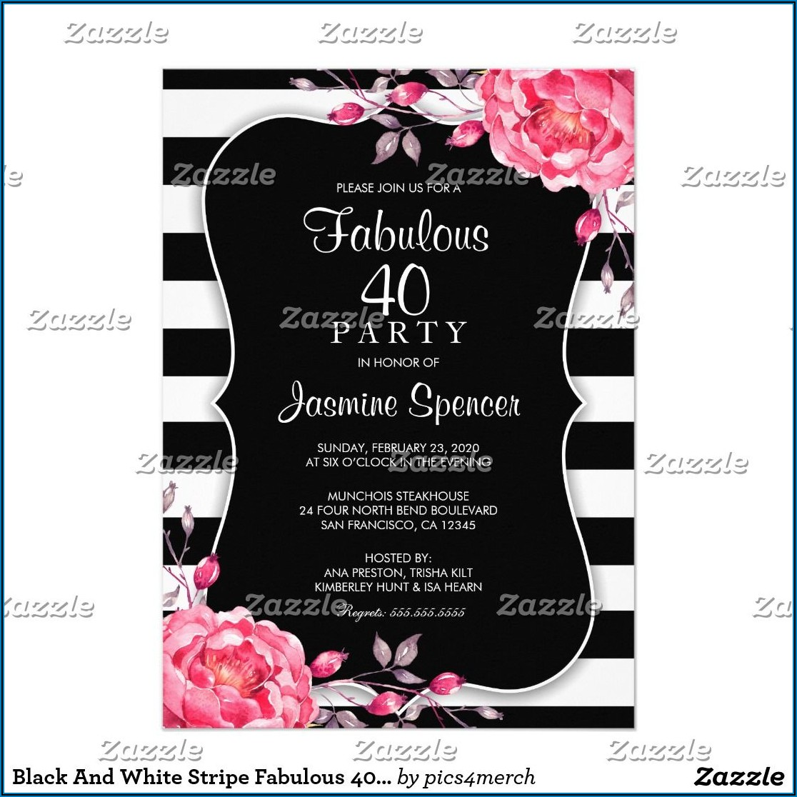 Black And White Striped Birthday Invitations