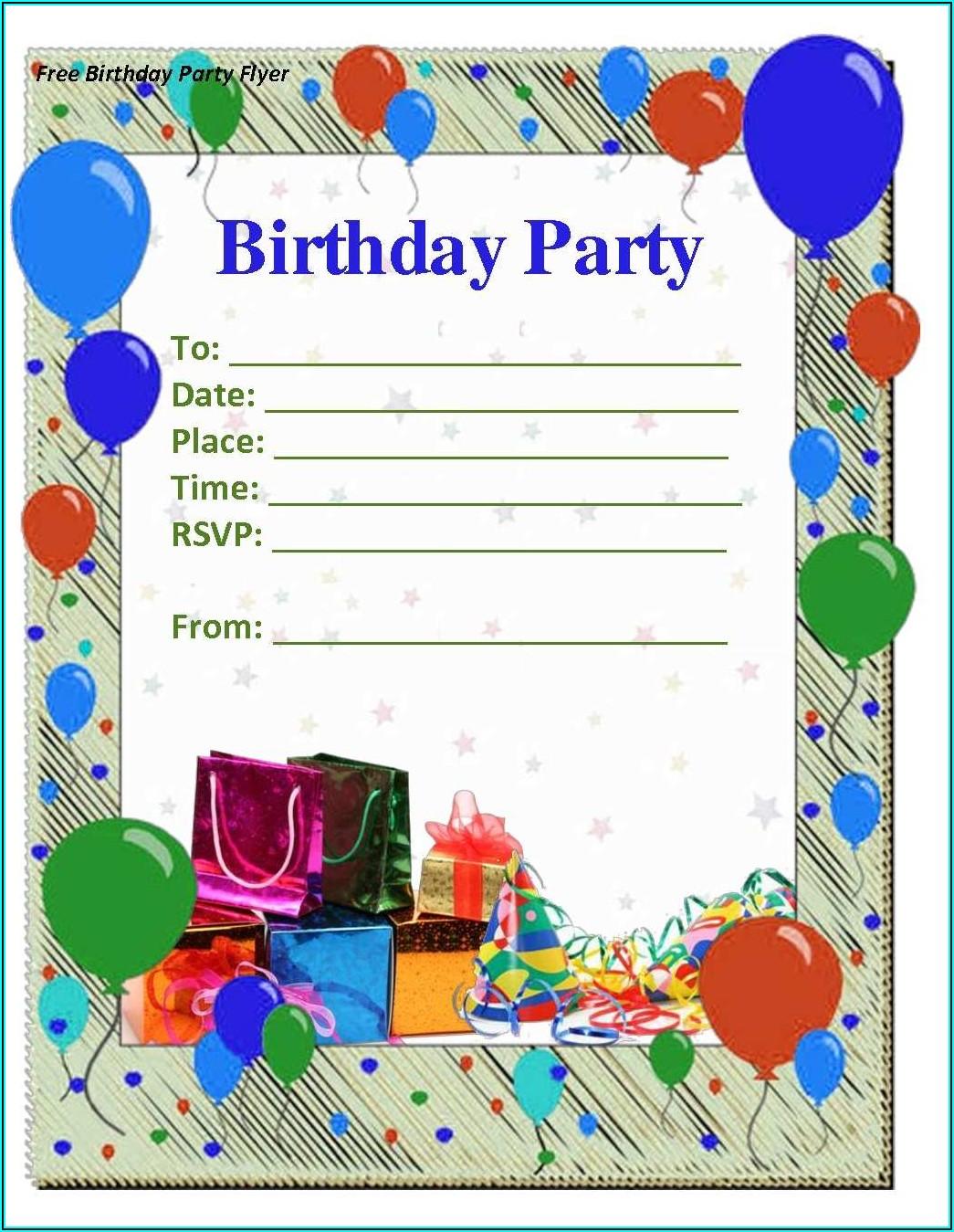 Blank Birthday Invitation Card Template Free Download