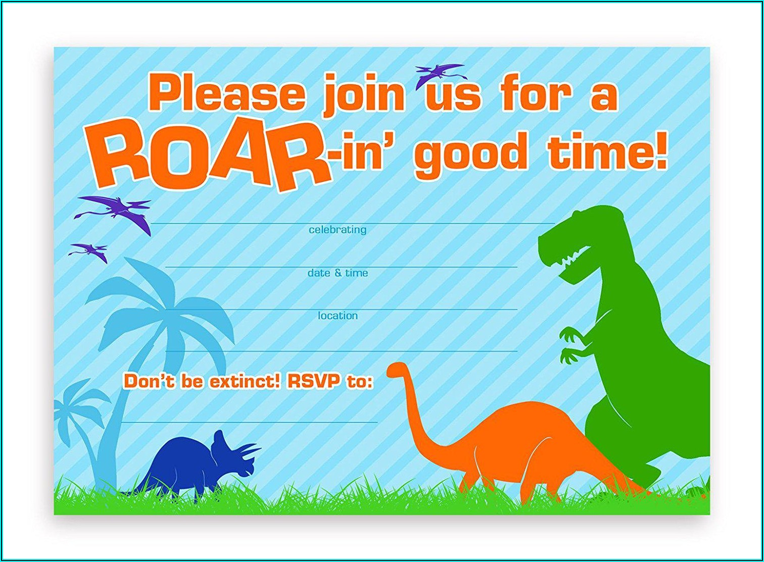 Blank Dinosaur Invitation Template Free