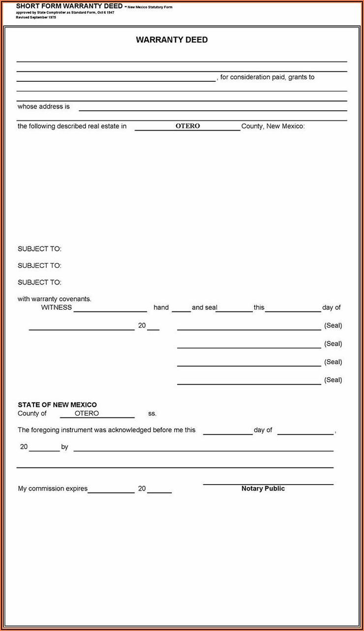 Blank Warranty Deed Form New Mexico