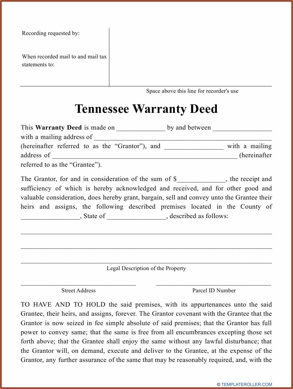 Blank Warranty Deed Form Tennessee