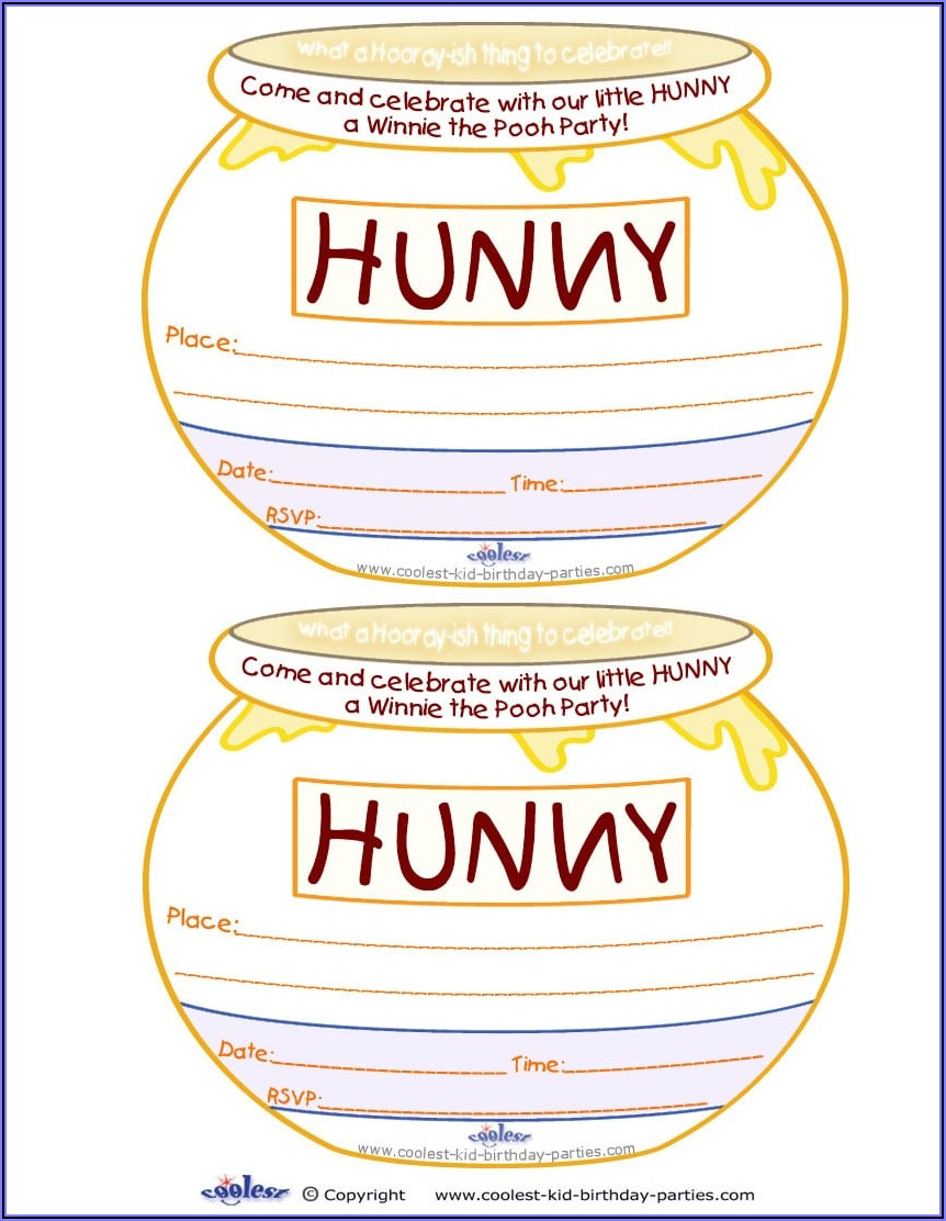 Blank Winnie The Pooh Baby Shower Invitations Templates Free