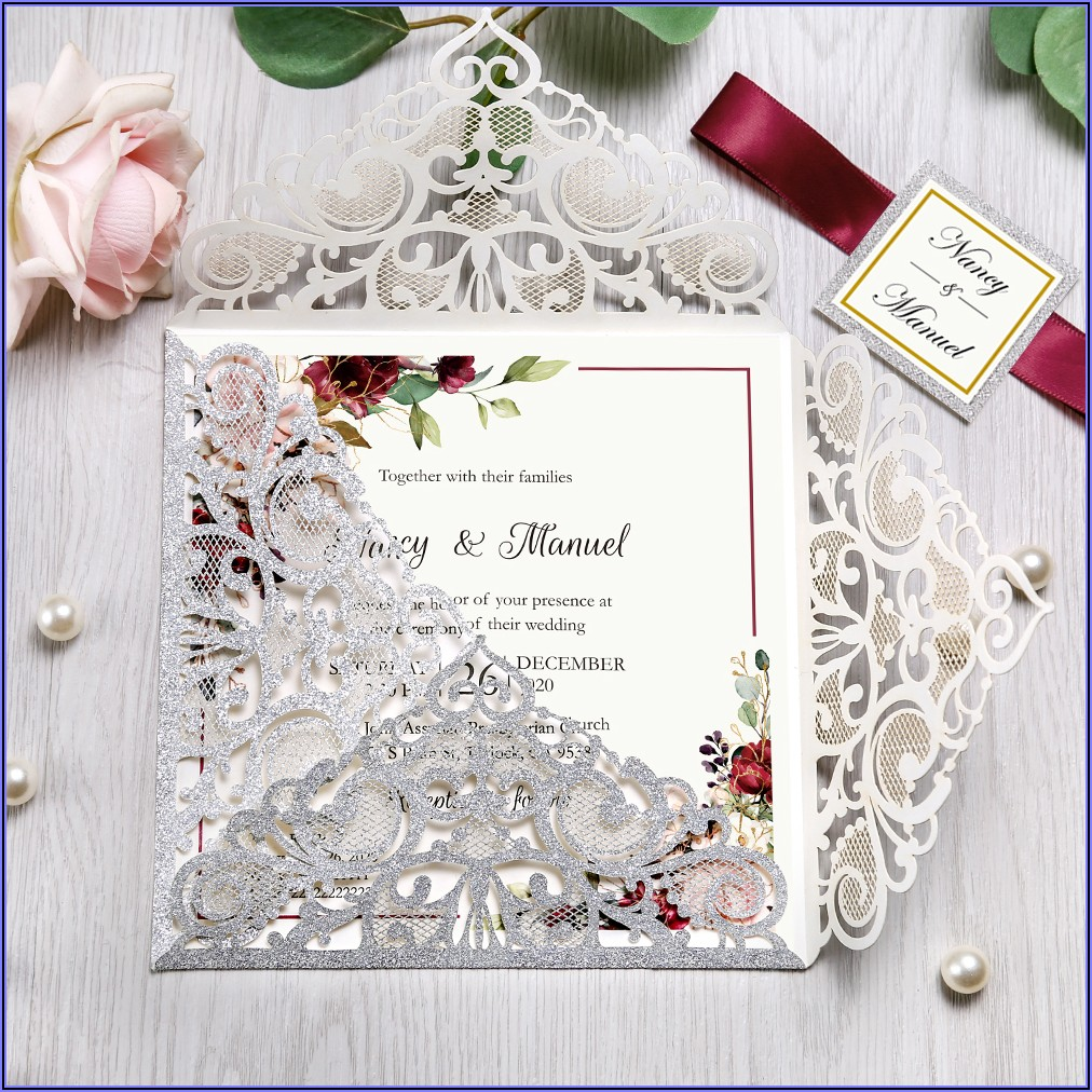 Blue White And Silver Wedding Invitations
