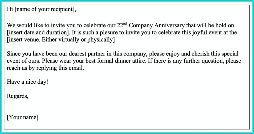 Business Dinner Invitation Email Example