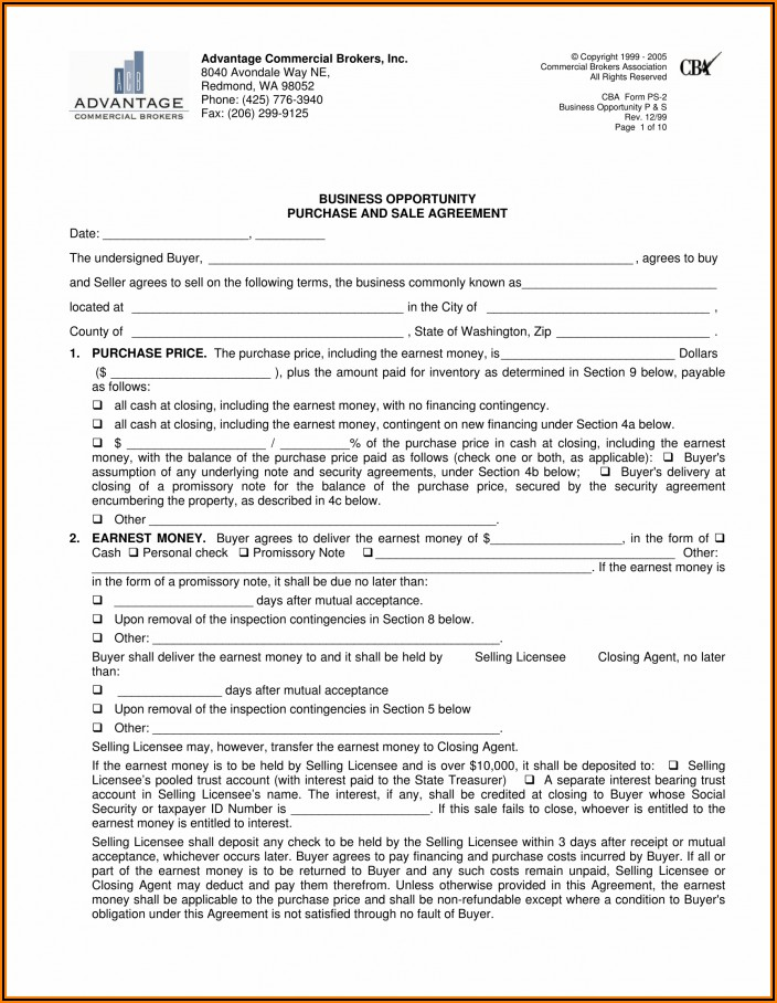 Business Purchase Agreement Word Doc