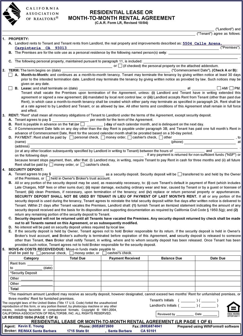 California Association Of Realtors Residential Lease Or Month To Month Rental Agreement Form