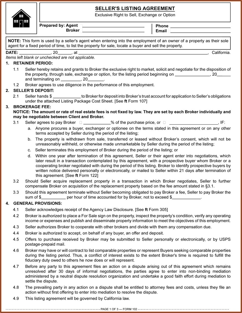 California Real Estate Sales Agreement Form