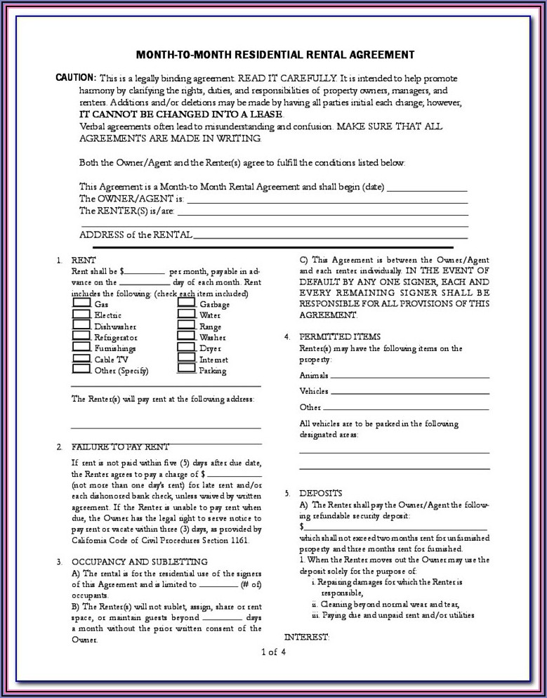 California Residential Lease Or Month To Month Rental Agreement Form (fillable Pdf)