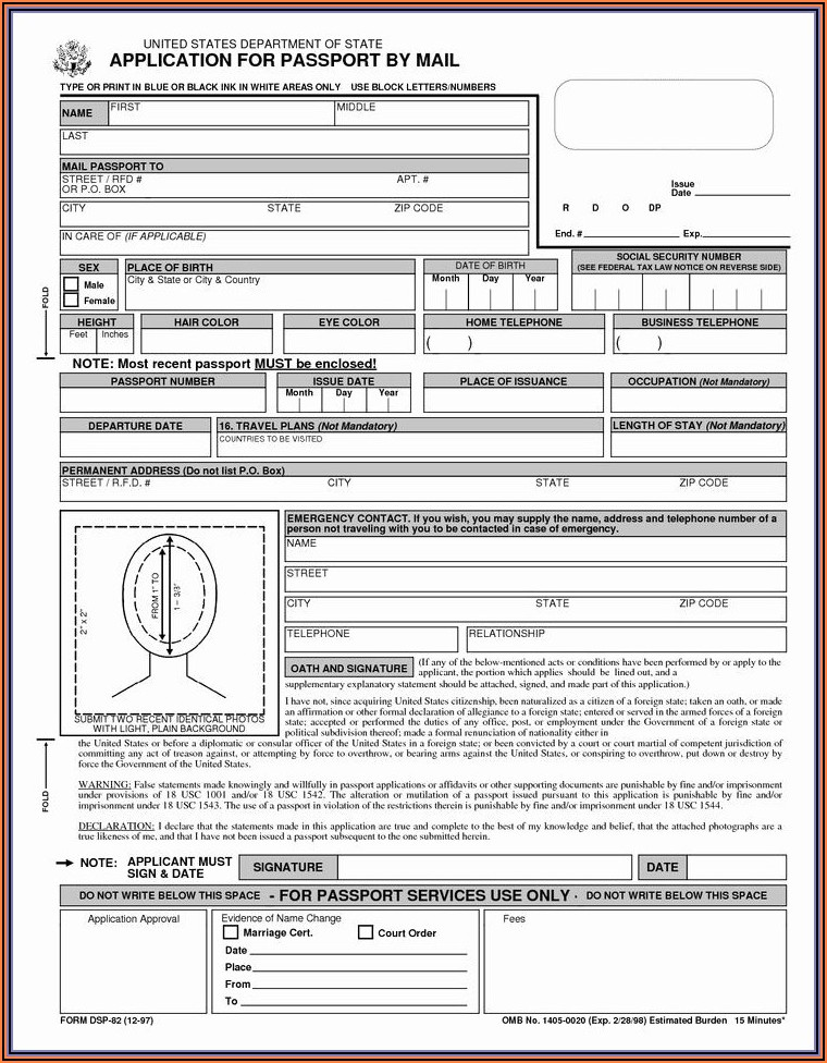 Canadian Passport Application Form For Lost Passport