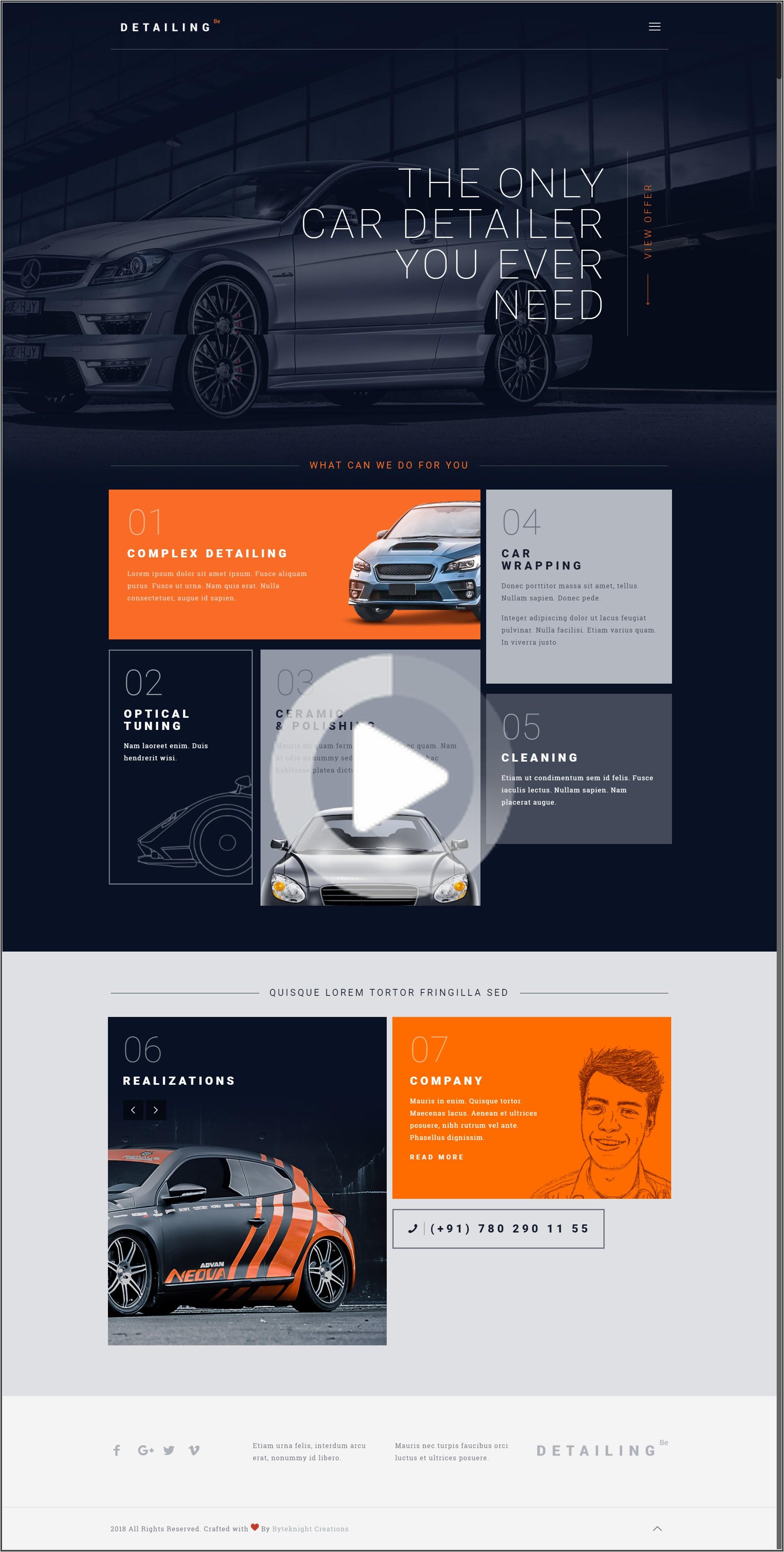Car Detailing Website Templates
