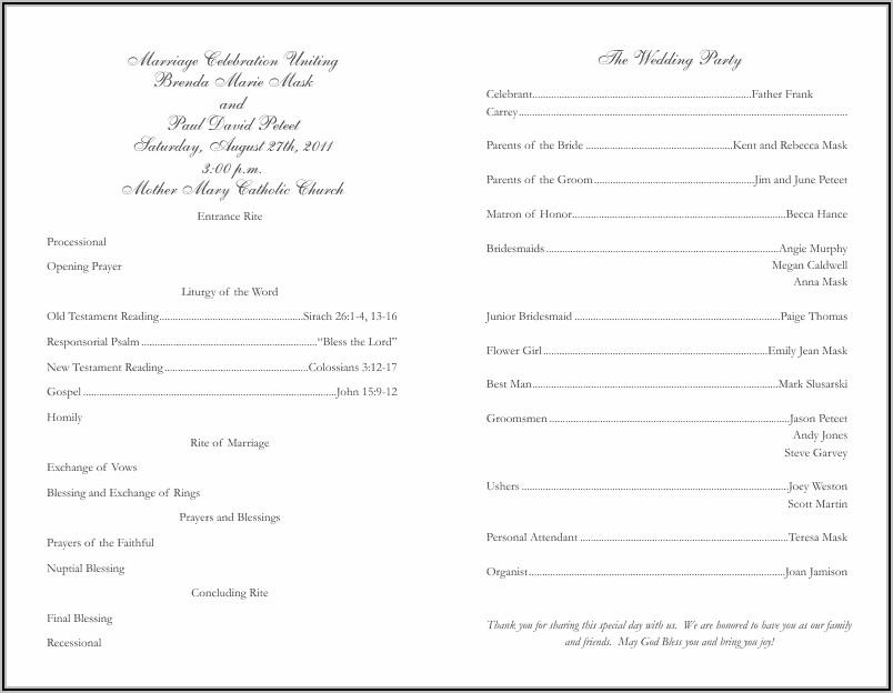 Catholic Wedding Order Of Service Template Uk