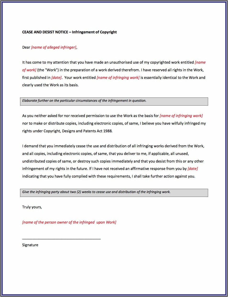 Cease And Desist Letter Template South Africa
