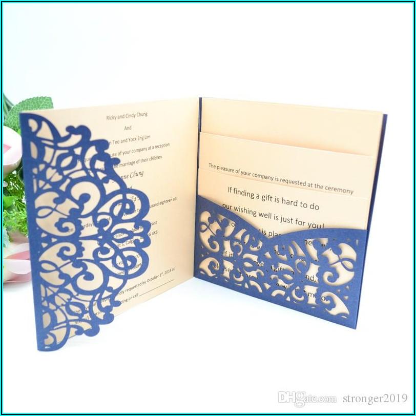 Cheap Laser Cut Pocket Wedding Invitations