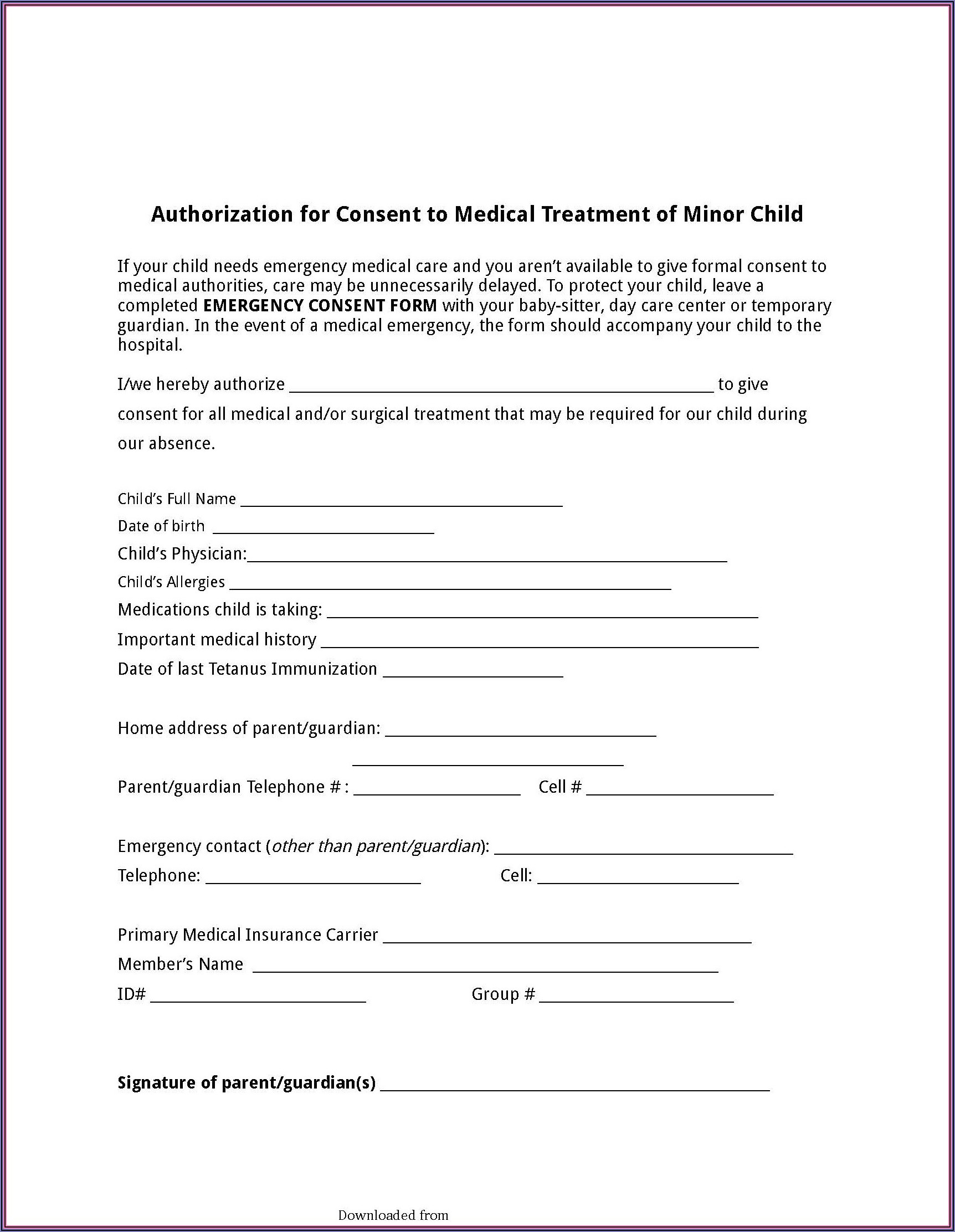 Child Guardian Consent Form Texas