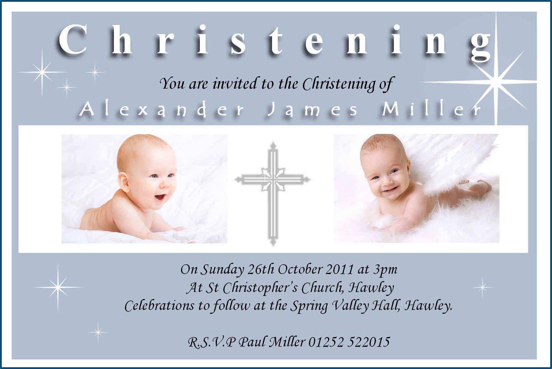 Christening Invitation For Baby Boy Blank