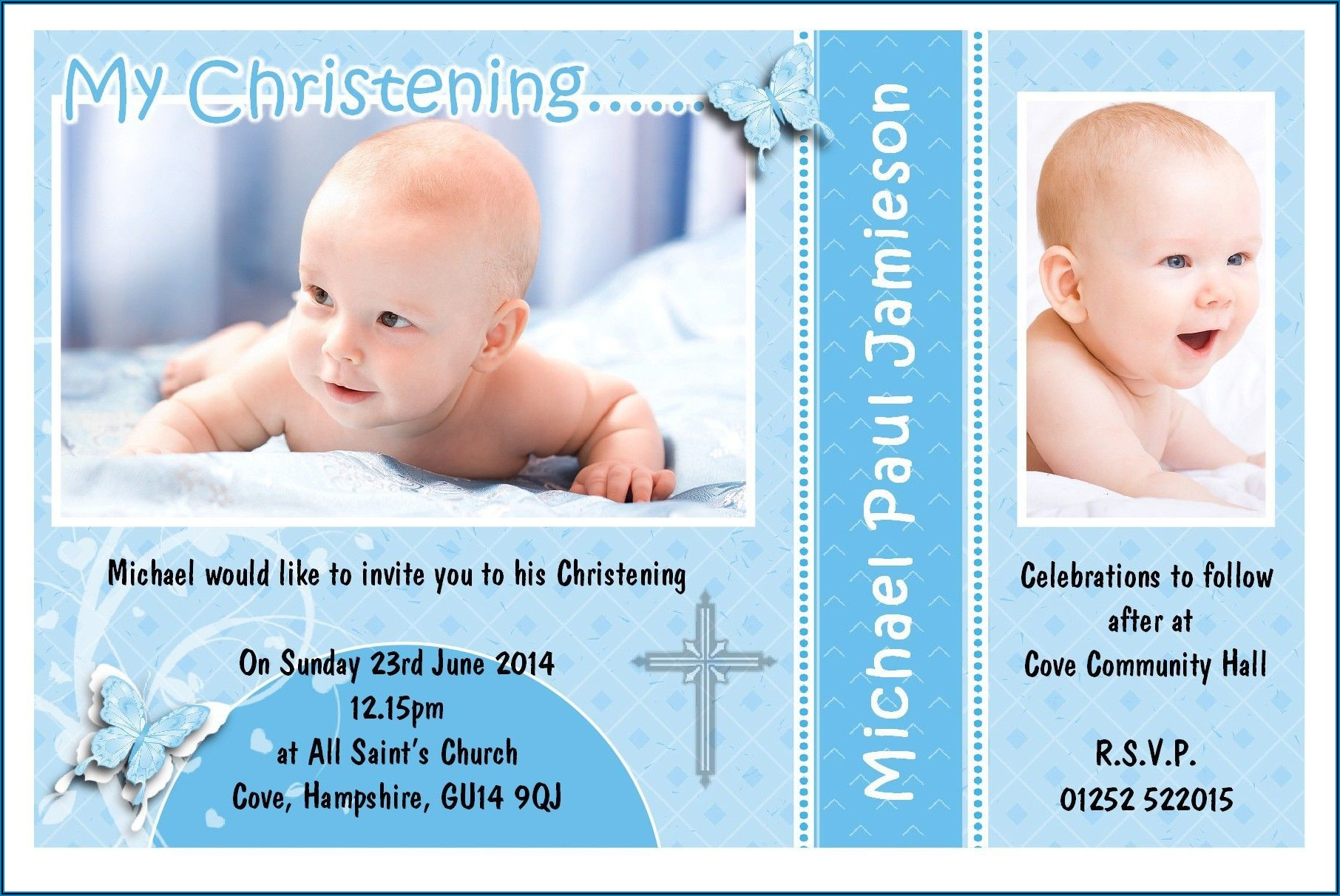 Christening Invitation For Baby Boy Pinterest