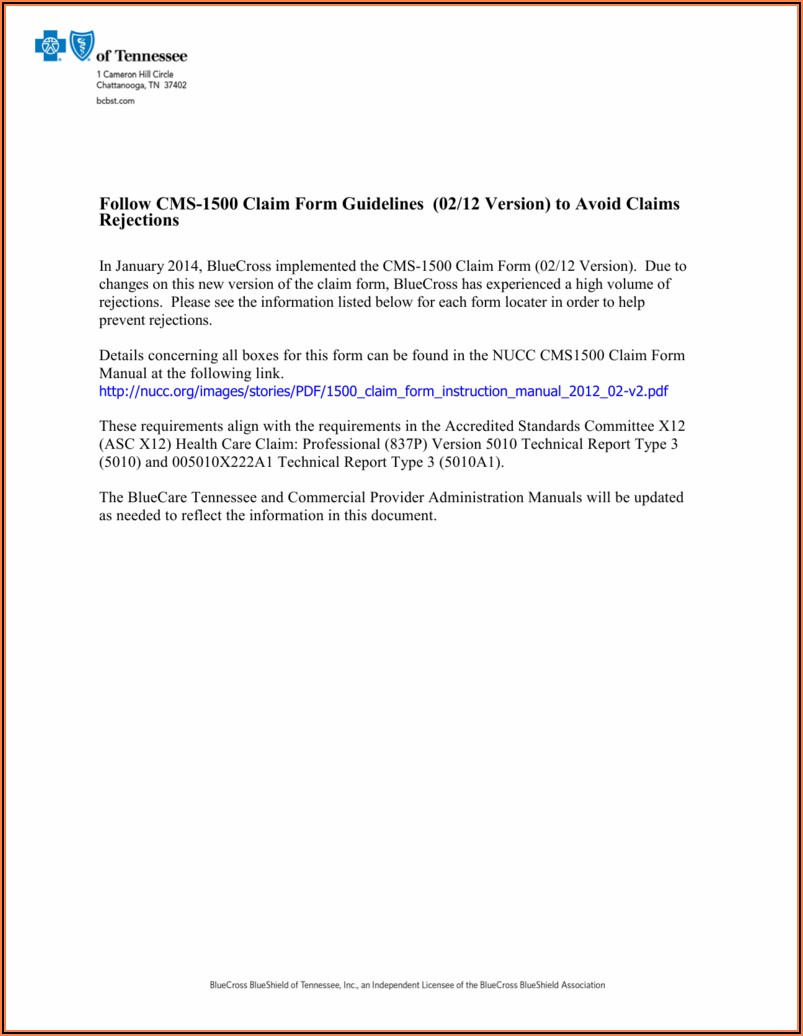 Cms 1500 Claim Form Guidelines