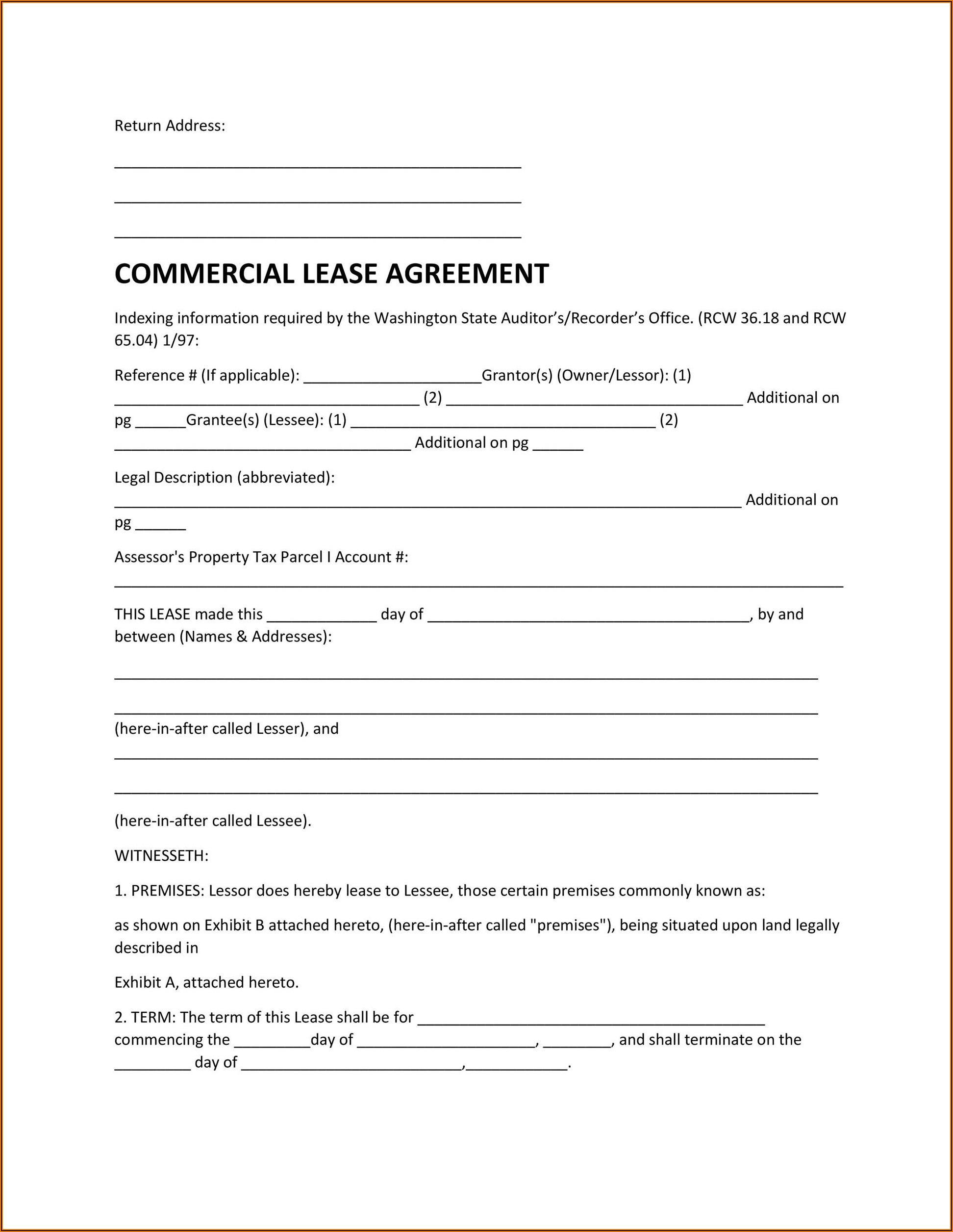 Commercial Property Lease Agreement Free Template Uk