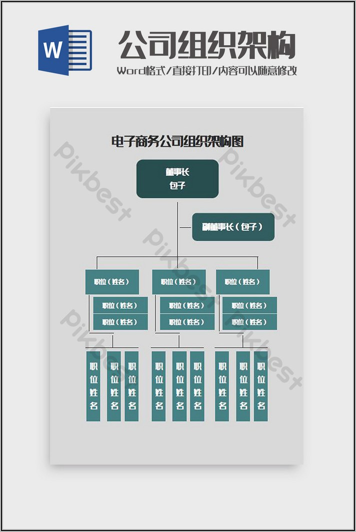 Company Organization Chart Template Free Download