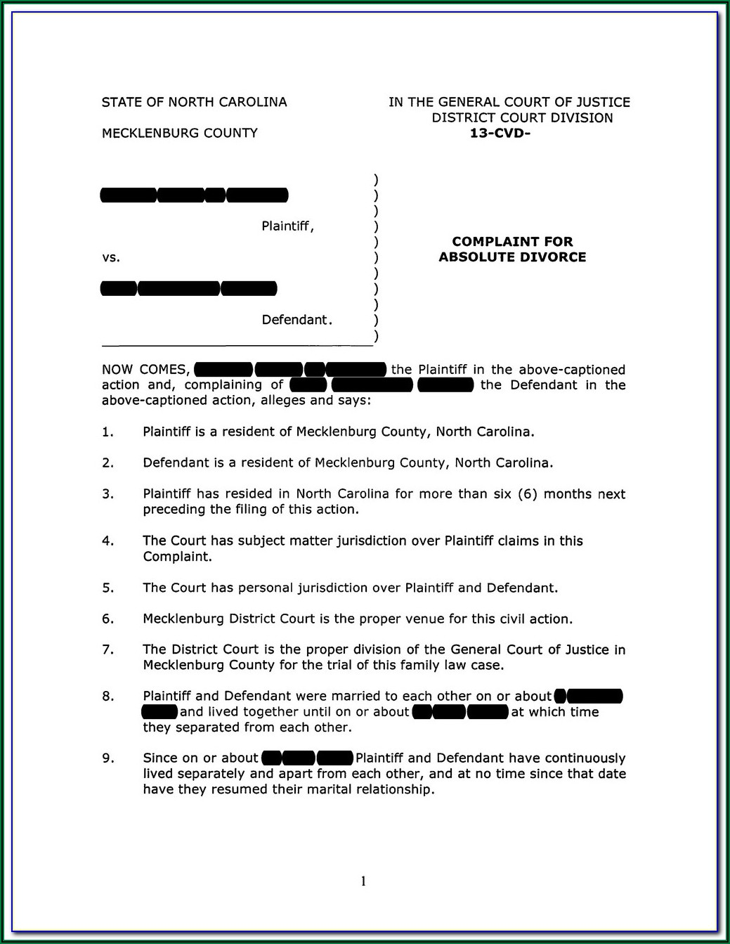 Complaint For Absolute Divorce Form Nc