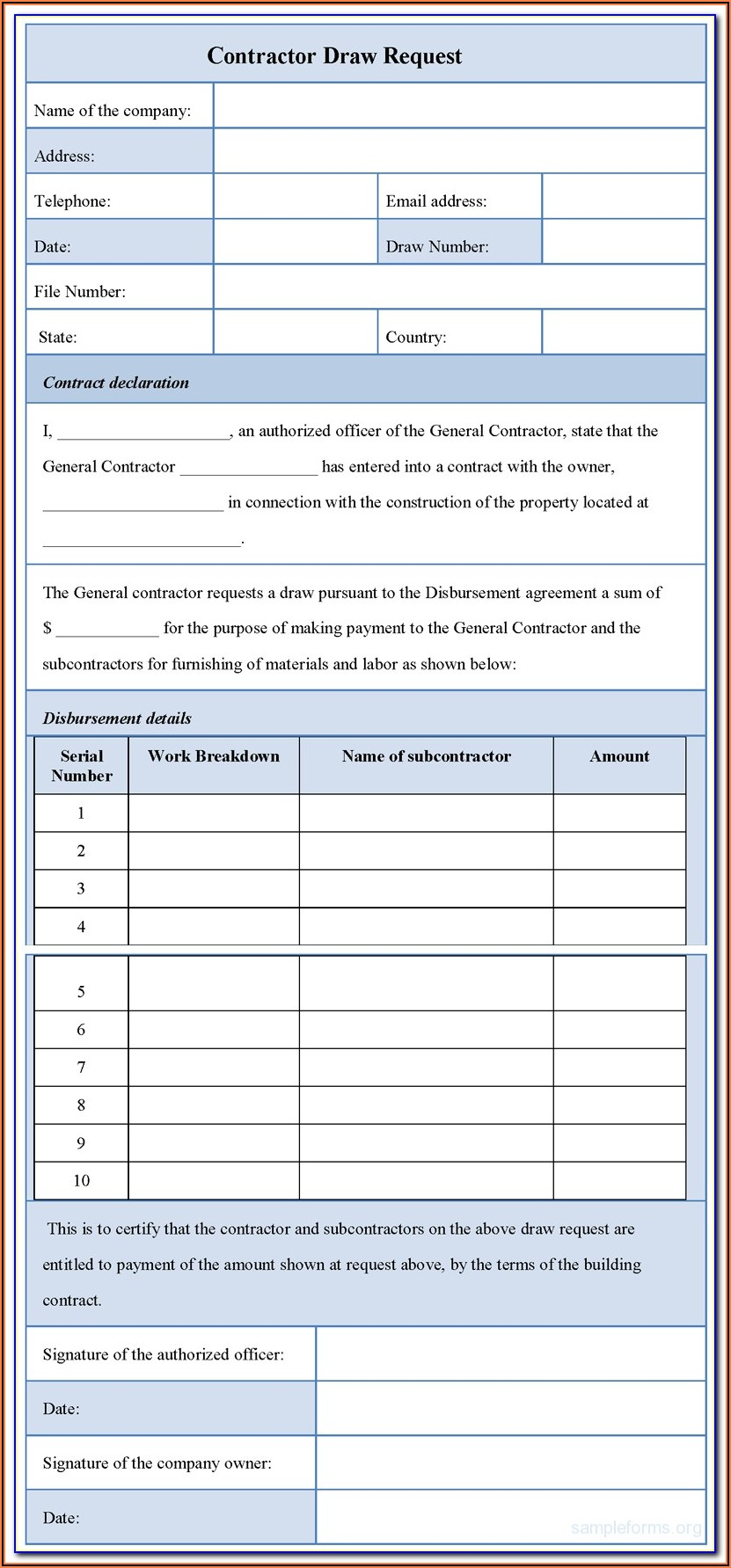 Construction Draw Request Form Template
