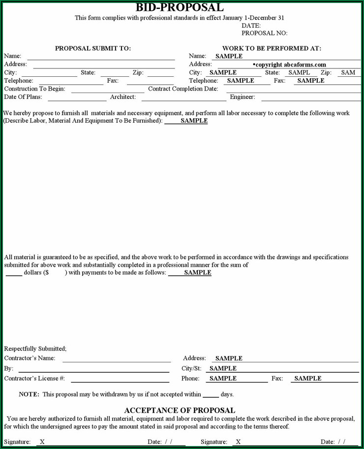 Construction Proposal Forms Free Download