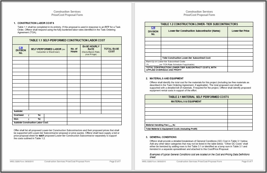 Construction Proposal Templates Word