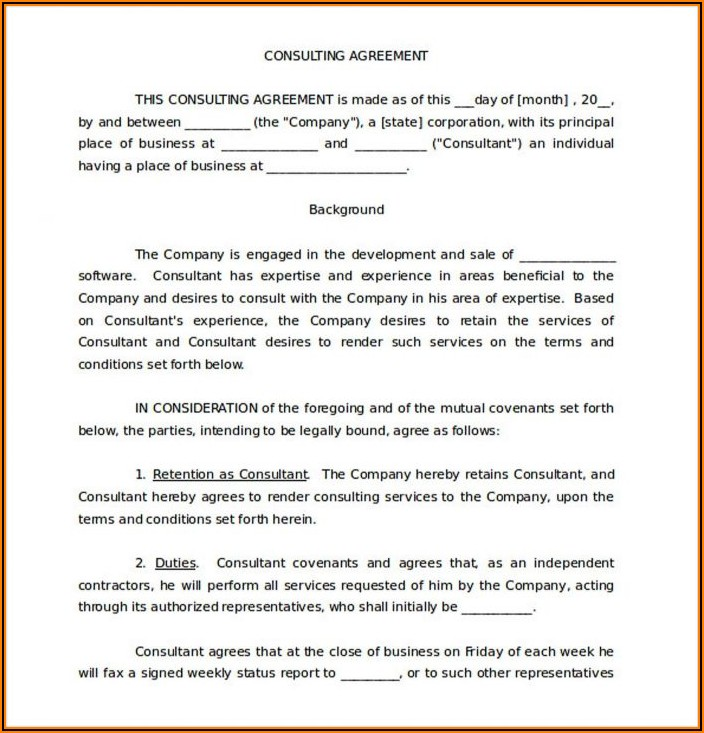 Consulting Services Agreement Template Free