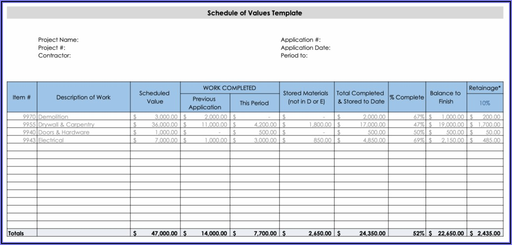 Contractor Schedule Of Values Form