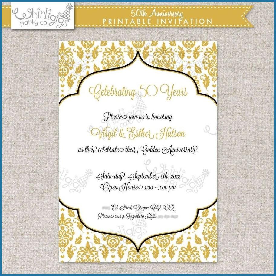 Customizable Free Printable 50th Wedding Anniversary Invitation Templates