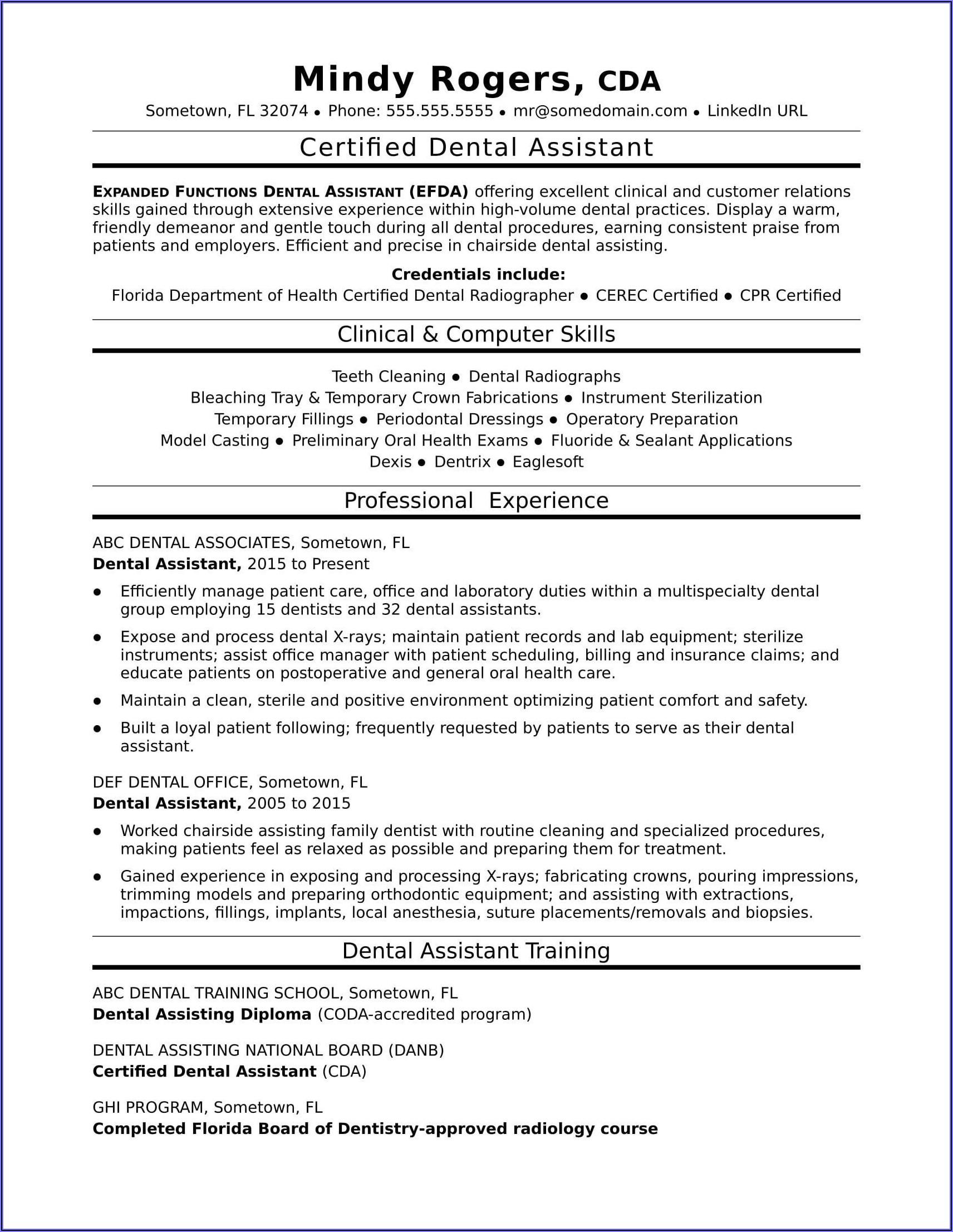 Dental Assistant Job Description Resume