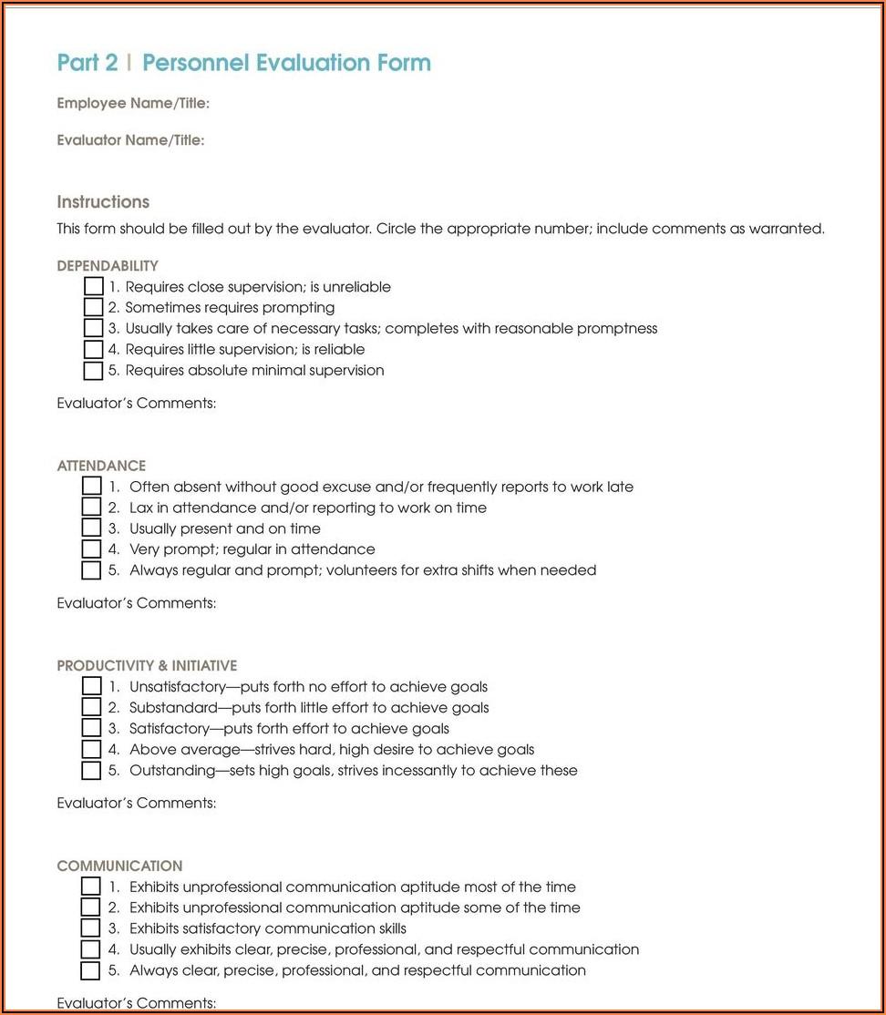 Dental Receptionist Evaluation Form