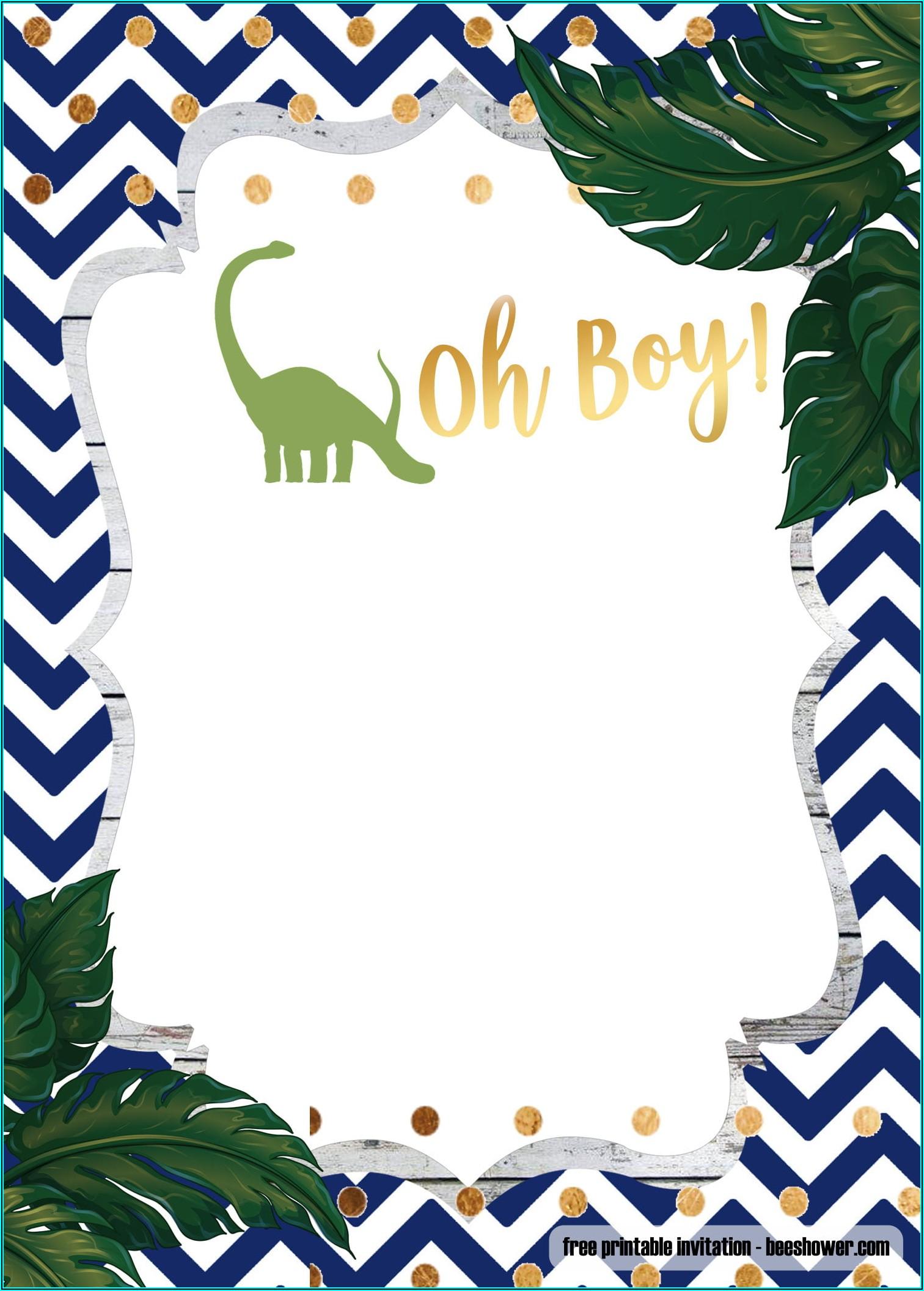 Dinosaur Baby Shower Invitation Template Free