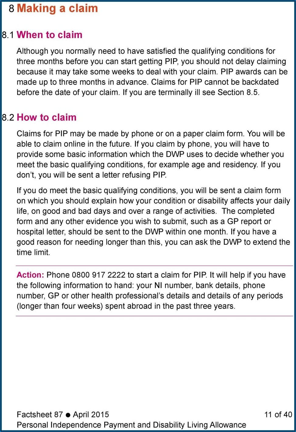 Disability Living Allowance Claim Form Online
