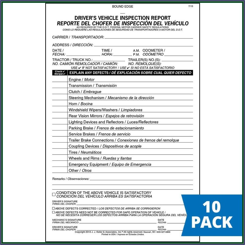 Dot Truck And Trailer Inspection Form