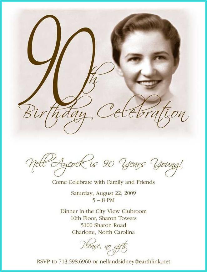 Downloadable 90th Birthday Invitation Template Free