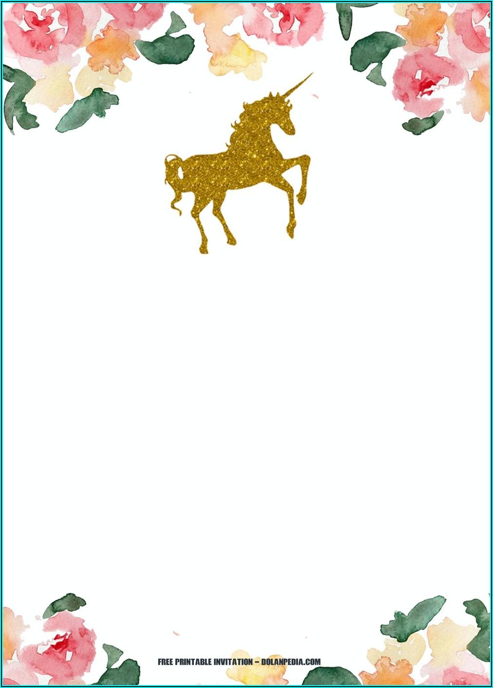 Downloadable Unicorn Birthday Invitation Template