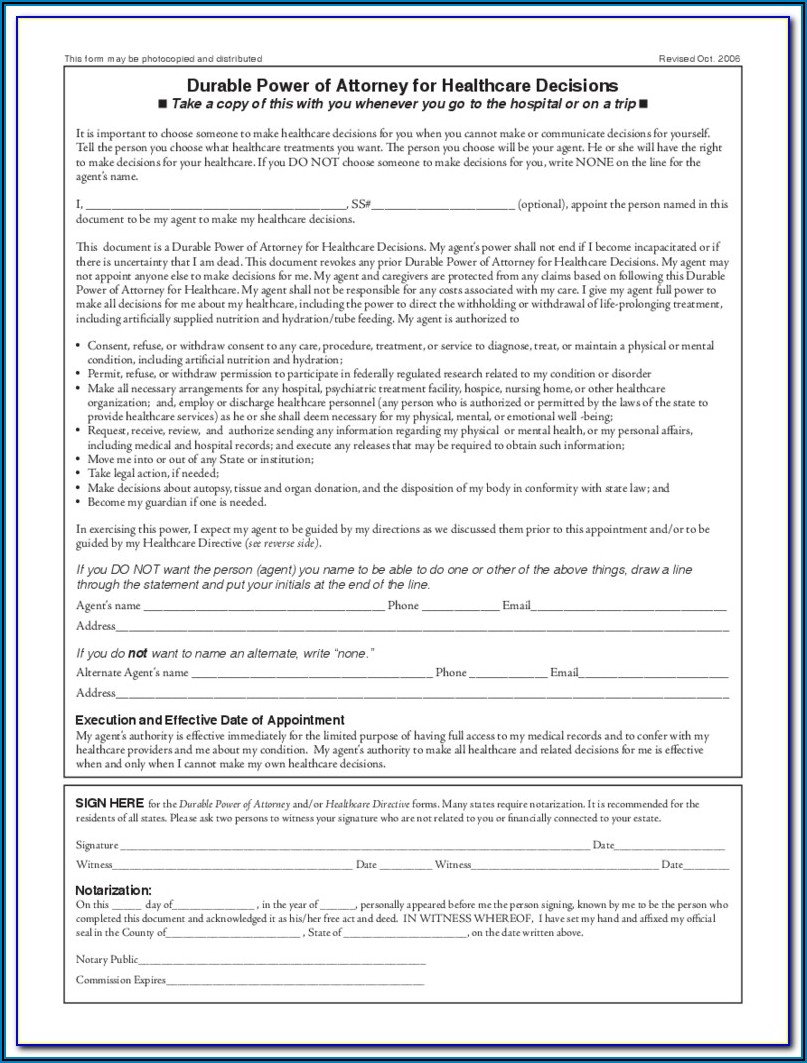 Durable Power Of Attorney Health Care Form California
