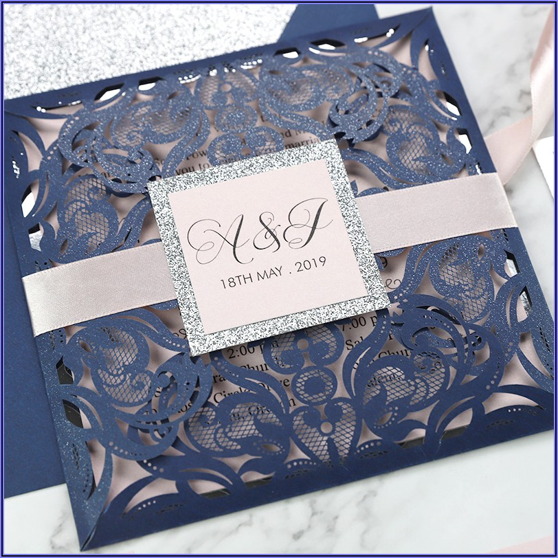 Dusty Blue And Silver Wedding Invitations