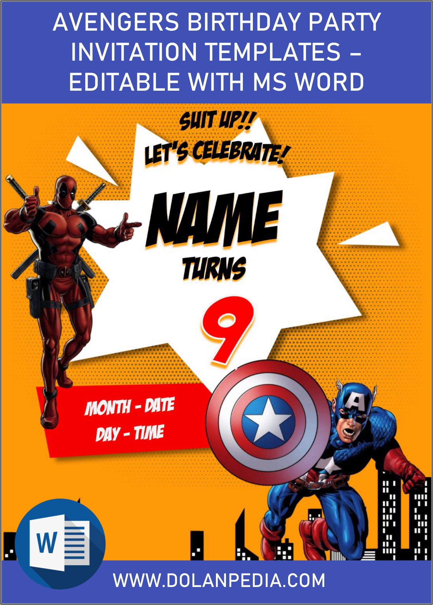 Editable Avengers Invitation Template