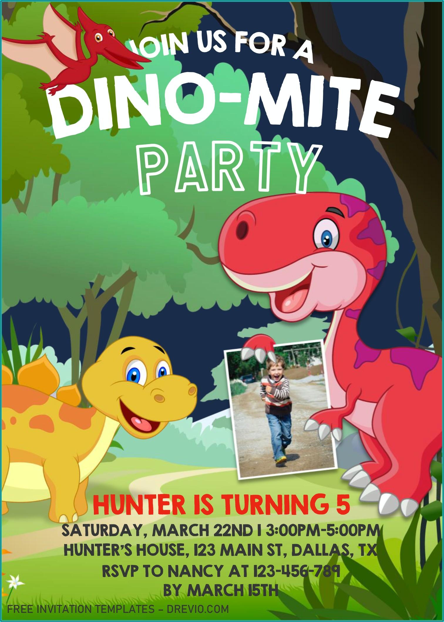 Editable Dinosaur Invitation Template Free