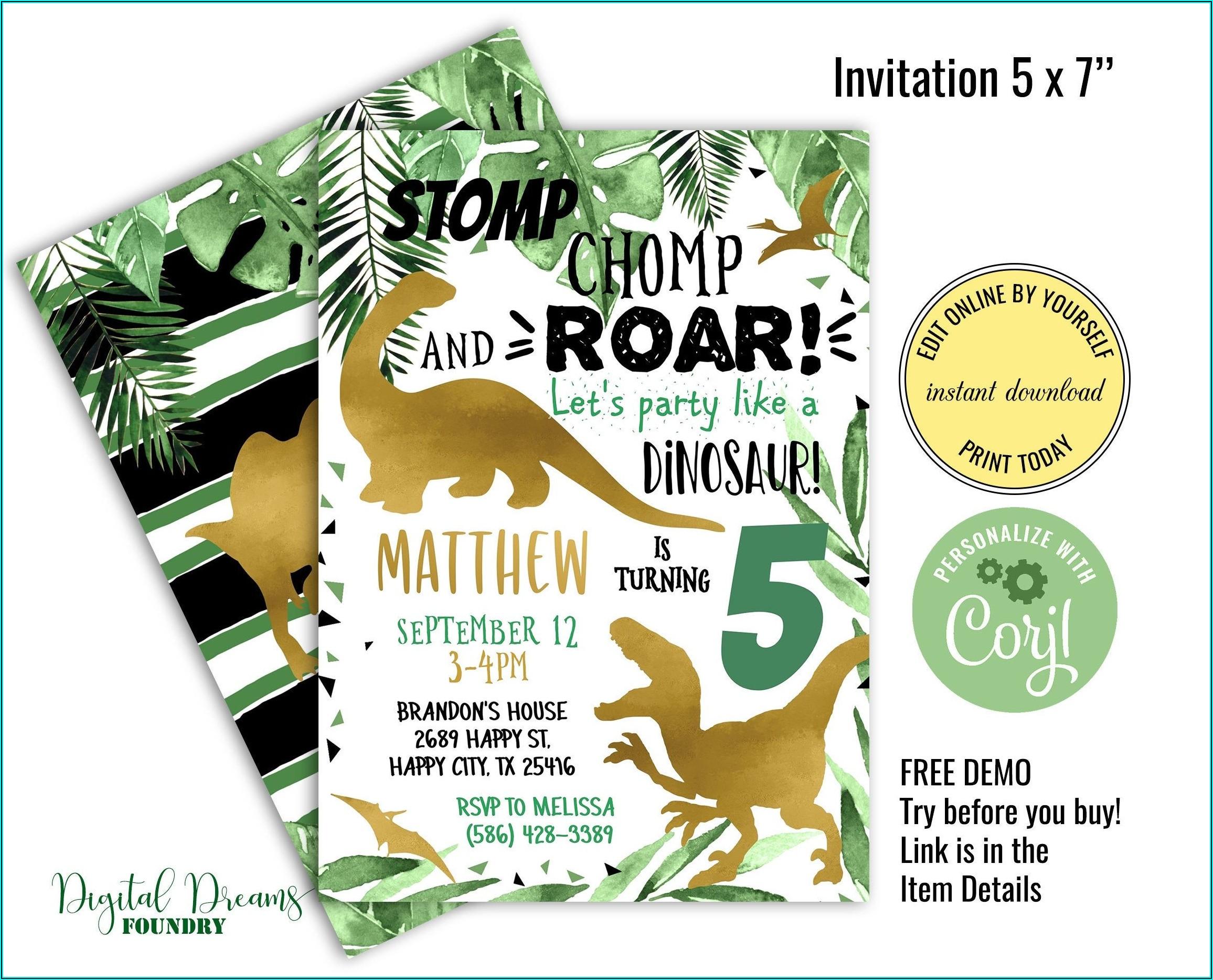 Editable Dinosaur Invitation Template