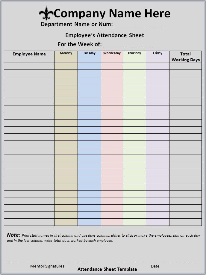 Employee Attendance Sheet Template Microsoft Word