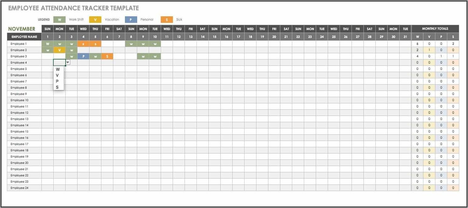 Employee Attendance Tracker Excel Template 2021