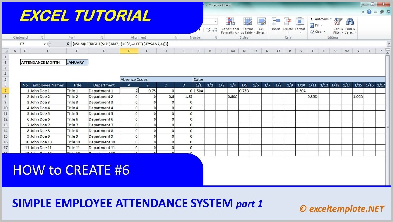 Employee Attendance Tracker Excel